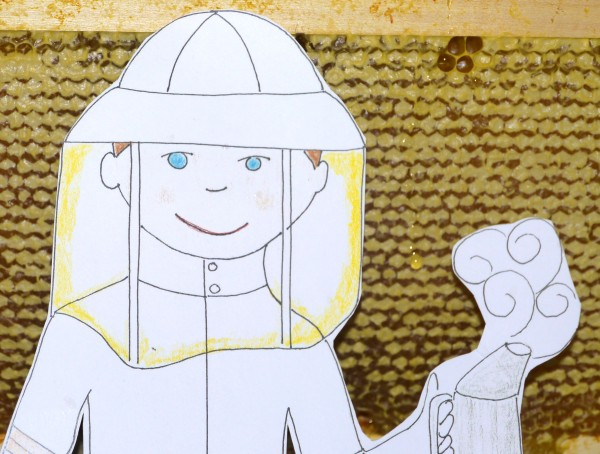 Flat Stanley and a frame dripping with honey